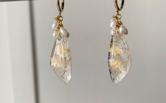 """New Accessories """"Kasumi Grass & June Birthstone """"Freshwater Pearl"""" Hoop Earrings"""""""