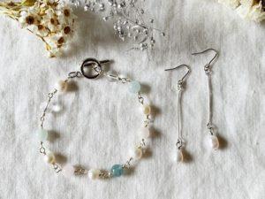 [15] メガネ留めで作る天然石/淡水パールブレスレッド&耳飾りセットアップ