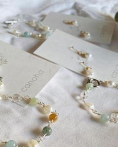 canohaハンドメイドアクセサリー教室:[15]メガネ留めで作る天然石/淡水パールブレスレッド&耳飾りセットアップ