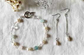 [15]メガネ留めで作る天然石/淡水パールブレスレッド&耳飾りセットアップ